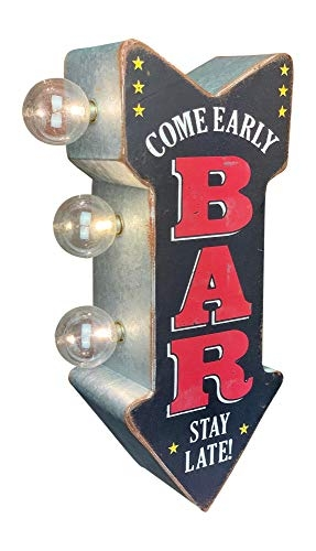 Retro Metal BAR Double Sided LED Sign – Come Early Stay Late